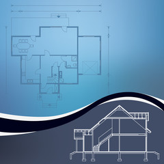 architectural blueprint vector illustration