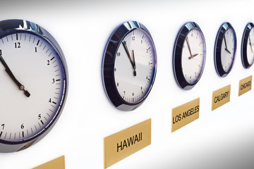 Timezone clocks showing different times of world locations