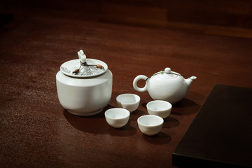 Traditional asian tea Set on a Wooden Table