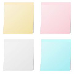 collection of colorful note papers on white background