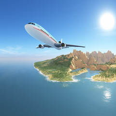 Airplane from exotic island, vacation destination