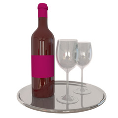 Red Wine Bottel And Glasses