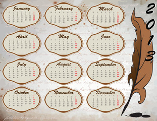 Calendar on vintage background with feather