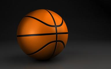 basketball over the dark background