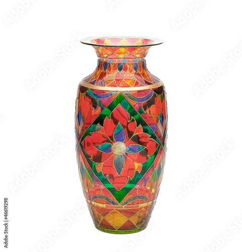 Coloful Stain Glass Vase With Flower Pattern Isolated Stock Photo