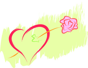 love heart and rose flower