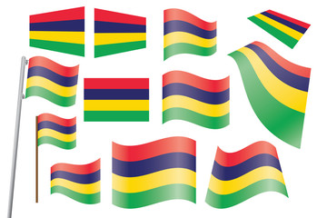 set of flags of Mauritius vector illustration