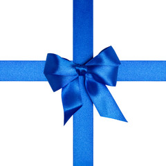 square composition with blue ribbons and a bow