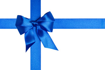composition with blue ribbons and a bow