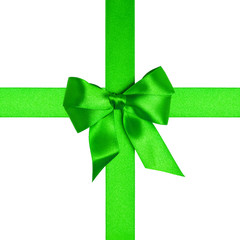 square composition with green ribbons and a bow