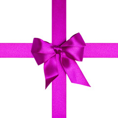 square composition with purple ribbons and a bow