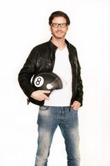 Fototapete - Motorradfahrer mit Helm