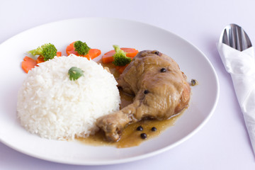 Pepper sauce chicken rice
