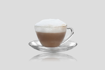 hot capuccino coffee isolated