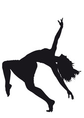Silhouette of dancers on a white background