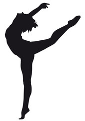 Ballerina silhouette on a white background