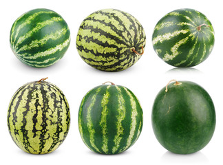 Set of watermelon fruits isolated on white background