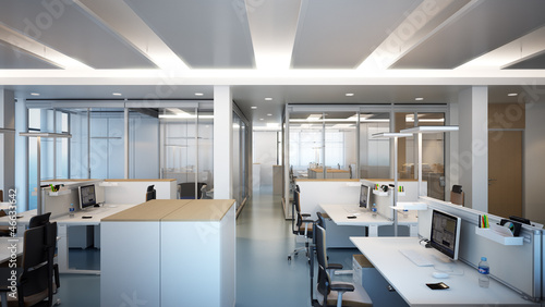 Modernes Buro Modern Office With Glas Partition Stock Photo And