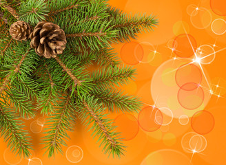 christmas tree with yellow bokeh background