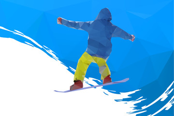 flying snowboarder on mountains, vector illustration