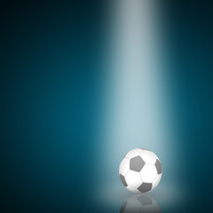 Single Soccer ball with reflection from lighting