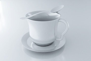 empty coffee cup on a plate and spoon