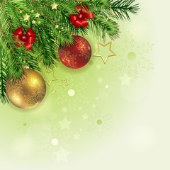 Christmas background with pine branch