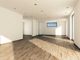 Leerstand Immobilie Wohnzimmer Ansicht zur Küche 3D
