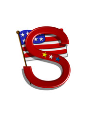 Alphabet Stars and Stripes S