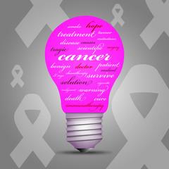 Cancer awareness light bulb
