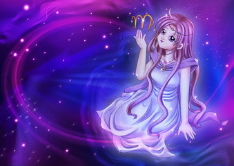 Manga style of zodiac sign on cosmic background, Virgo
