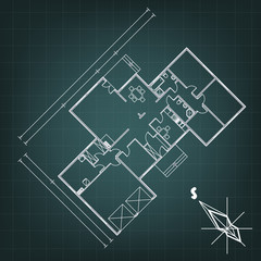 architectural background with abstract compass. EPS10