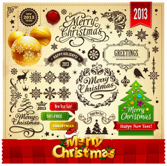 Christmas decoration vector elements set