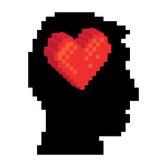 Pixel heart in the pixel head, illustration