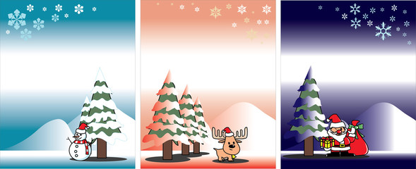 Christmas card vector template; day, evening, night