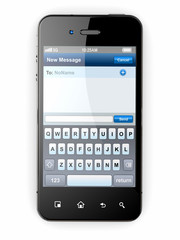 Mobile phone with sms menu screen. Space for text