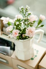 White and pink Carnation in moka pot