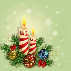 Christmas background with burning candles