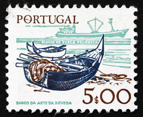 Postage stamp Portugal 1978 Fishing Bark and modern Ship
