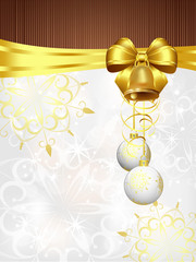 christmas background with golden ribbon and white decorations