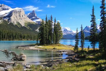 Poster Canada Spirit Island auf dem Maligne Lake