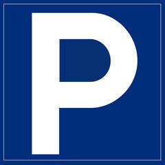 Papier Peint - Schild blau - Parkplatz