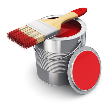 Can with red paint and paintbrush