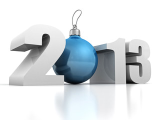 happy new year 2013 with blue fur-tree ball
