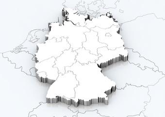Deutschland und angrenzende Länder detailgetreu