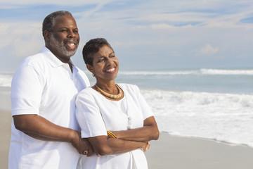 Happy Senior African American Couple on Beach