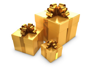 Three Gold Gift boxes with gold bows and ribbons
