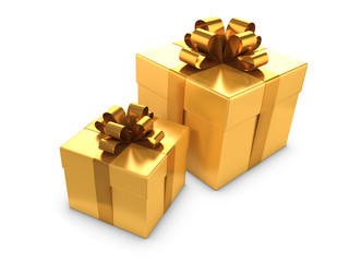 Two Gold Gift boxes with gold bowes and ribbons