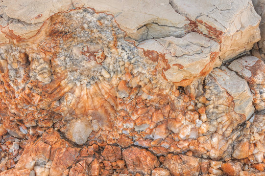 Detail of dolomite, calcite stone surface, Vrboska, Croatia