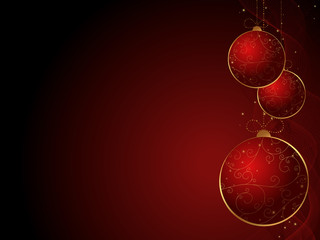 vector Christmas / New Year card with red baubles